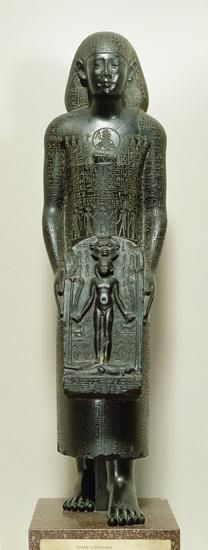 Statue of Padimahes, priest of Bastet, with magical texts for healing, 30th Dynasty or early Ptolematic