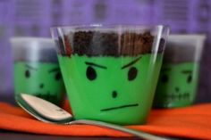Frankestein pudding cups... could do something similar with monsters