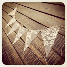 1m Vintage LACE Rustic Country Beach Wedding Baby Shower Bunting Banner