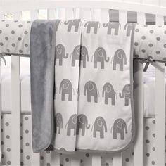 Gray Elephants Baby Blanket