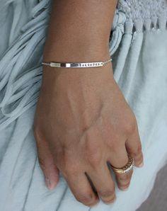 Sterling silver personalized skinny bar bracelet by LUCA jewelry. Mommy, baby name bracelet. Nameplate bracelet