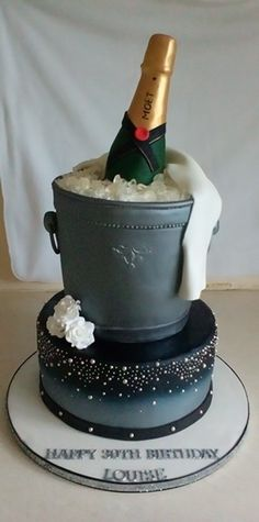 A Champagne Bottle And Ice Bucket 30th Birthday Cake With Baileys Sponge