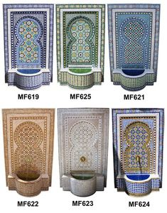 Mosaic Fountain – Page 2 – Moroccan Tiles Los Angeles Indoor Wall Fountains, Tabletop Water Fountain, Diy Fountain, Fountain Design, Indoor Fountain, Water Fountains, Outdoor Fountains, Garden Fountains, Morrocan Decor