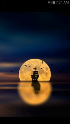 Moon-Lit Ocean Displaying a Tall Ship.