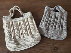 This tote pattern comes in two sizes, small and medium. This is not a beginners pattern and you should be comfortable crocheting cables.