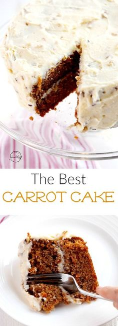 This is the best carrot cake recipe I have ever tasted, and it is my mom's recipe that my family has made for many years. #carrotcake #easter | APinchOfHealthy.com
