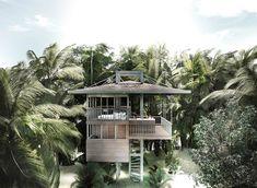 bali-based architect alexis dornier has developed plans for a series of environmentally friendly prefabricated villas called 'stilt studios'. Prefabricated Structures, Prefabricated Houses, Prefab Homes, Villas, Gravure Photo, Bali, Tree House Designs, Architecture Magazines, Modern Architecture
