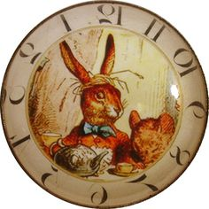 Alice Wonderland Crystal Dome Button Lg Sz Clock  AC18