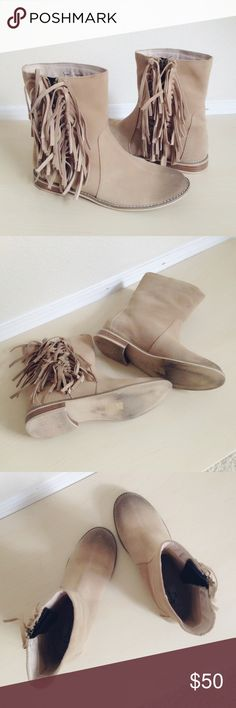 """Encore Beige Journey Suede Boots Basic beige boots with lush fringes on the sides. Made of leather. Approx 1"""" heel.  Size 8. Worn 3-4 times. (💟the darker toe color is original design, NOT worn out!) ✅offer welcome 🚫no trade Encore Shoes Ankle Boots & Booties"""