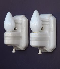Lovely Vintage White Porcelain Wall Sconces In Art Deco Style  Http://www.vintagelights