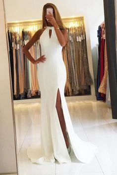 Backless White Chiffon Mermaid Evening Dresses Long Prom Gowns