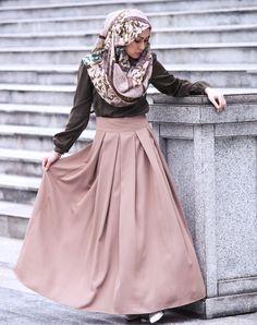 Maya Pleated Long Maxi Skirt in Clay - Bottoms - Modest Maxi Dress Islamic Fashion
