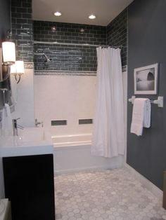 bathrooms - Sherwin Williams - Foggy Day - Vanity from Virtu USA, tile from the Tile Shop,  White and blue bathroom with marble floor by Kelliebar