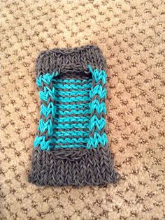 Rainbow loom iPod / phone case (turquoise and gray) I Made It!