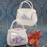For tea party birthday party:  Pocketbook shaped treat bag in white woven rattan