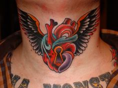 Best American traditional tattoos, most people are talking about the classic images designs and styles. Today Traditional tattoo designs are respected as some of the best. Trendy Tattoos, Tribal Tattoos, Tattoos For Guys, Traditional Tattoo Design, Traditional Tattoos, Heart With Wings Tattoo, Throat Tattoo, Tattoo Templates, Sick Tattoo