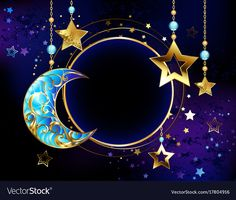 Round banner with jewelry crescent moon vector image on VectorStock 3d Fantasy, Dark Fantasy, Photo Backgrounds, Wallpaper Backgrounds, Art Fractal, Ramadan Background, Moon Vector, Star Wallpaper, Cellphone Wallpaper