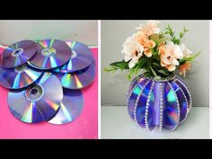 Crafts With Cds, Old Cd Crafts, Diy Crafts For Home Decor, Paper Crafts, Best From Waste Ideas, Cd Decor, Made Design, Recycled Cds, Cd Art