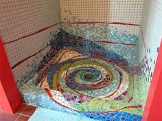 Cynthia Fisher, Big Bang Mosaics I would never get out of the shower! Love this idea! Mosaic Tile Art, Mosaic Bathroom, Mosaic Crafts, Mosaic Projects, Stone Mosaic, Mosaic Glass, Stained Glass, Glass Art, Tile Crafts