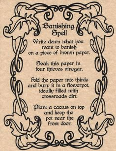 Banishing Spell, Book of Shadows Page, BOS Pages, Wicca, Witchcraft, Magic Spell picclick.com                                                                                                                                                                                 More