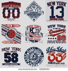 7b1917b8e3d Set of t-shirt graphic designs, New York sports wear typography emblems,  Creative