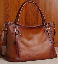 Women's Brown Real Leather Purse Genuine Leather Handbag Shoulder Bag Hobo Tote Purse Cowhide Bag  B152