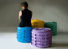 An upcycled seating option that's just the right fit. Latex Roll Poufs are made from sheets of latex left over from the production of insoles.