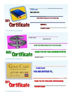 GIFT CERTIFICATE REWARD PASSES FOR STUDENTS: PDF File Includes 3 Reward Templates for