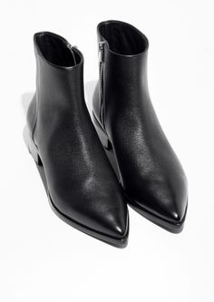 & Other Stories image 2 of Pointy Leather Boots in Black