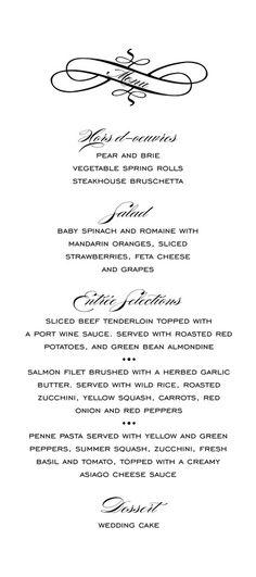 77cdf1c4d6f668fe15dc44d55dbb742c  wedding menu wedding programs - Traditional Wedding Menu