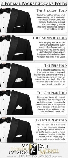5 Formal Pocket Square Folds - in case the guys wear pocket squares Style Gentleman, Gentleman Mode, Gentleman Fashion, Mens Fashion Blog, Fashion Moda, Men's Fashion, Formal Fashion, Fashion Menswear, Fashion Black