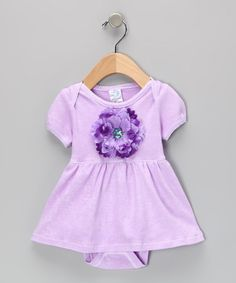 Take a look at this tiny bundles Lavender & Purple Flower Skirted Bodysuit by tiny bundles on #zulily today!
