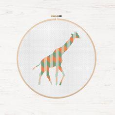 Giraffe Cross Stitch Pattern Geometric Giraffe Chevron Instant Download PDF Modern Cross Stitch African Animal Collage Polygon DIY Mosaic