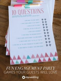 Engagement parties are a fun way to celebrate the exciting news — and with these five fun engagement party games, everyone will share a laugh with each other and the bride and groom to be! From couples quizzes to mad libs, these are great ideas for a bridal shower too that will entertain all of your guests.