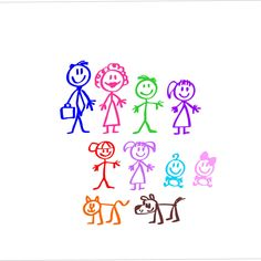Stick figure family dad mom son daughter boy girl baby decal waterproof, weatherproof, car or yeti decal by BluetiqueDesigns on Etsy