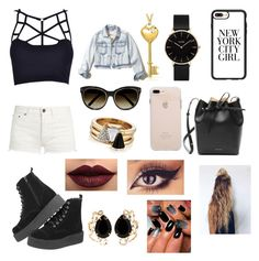 """""""#13"""" by sofiaesparrica ❤ liked on Polyvore featuring Yves Saint Laurent, Casetify, CLUSE, Bling Jewelry, Hollister Co., Mansur Gavriel, Chloé, Brixton, LASplash and Bounkit"""