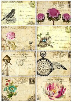 PoSTCaRD CoLLeCTioN SeT of 8 Digital Collage Sheet Printable download atc altered art craft supplies s01