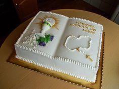 Best 12 torty okolicznościowe – Martyna A. Teachers Day Cake, Comunion Cakes, Pastel Mickey, Bible Cake, First Holy Communion Cake, First Communion Decorations, Religious Cakes, Confirmation Cakes, Book Cakes