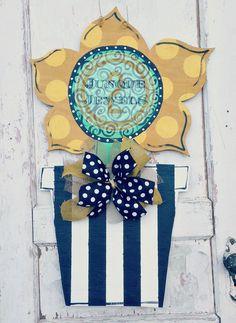 Sunflower Door Hanger Burlap Crafts, Wreath Crafts, Wooden Crafts, Wooden Door Hangers, Wooden Doors, Burlap Door Hangings, Sunflower Door Hanger, Wooden Wreaths, Wooden Cutouts