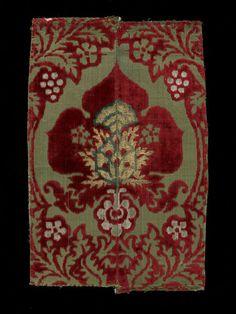 Woven silk velvet probably from Italy ca 1450-1500  Silk Velvet woven with metal threads.