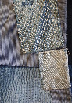 Beautiful vintage sashiko used to mend a garment.