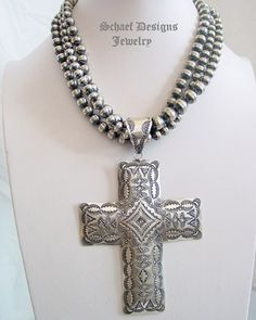 Large Vince Platero Sterling Silver Hand Stamped Cross Pendant   Schaef Designs Southwestern & Equine Jewelry   New Mexico