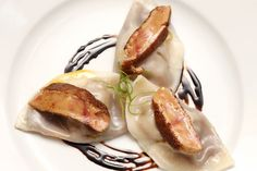 Seared foie gras with soup dumplings and jicama from Annisa