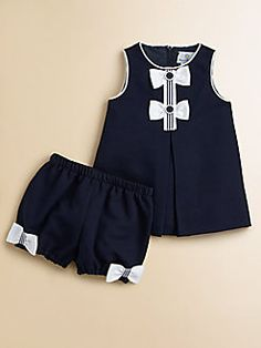 Florence Eiseman Infants Pique Bow Dress Bloomers Set I want these shorts for myself Baby Girl Dress Design, Girls Frock Design, Baby Frocks Designs, Kids Frocks Design, Girls Dresses Sewing, Little Girl Dresses, Toddler Girl Dresses, Kids Dress Wear, Baby Girl Dress Patterns