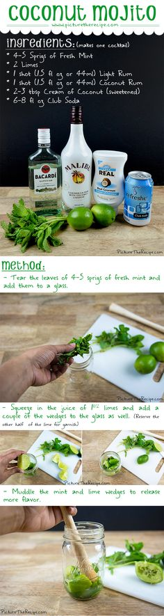Coconut Mojito Recipe by PictureTheRecipe com Coctails Recipes, Drinks Alcohol Recipes, Alcoholic Drinks, Beverages, Drink Recipes, Refreshing Cocktails, Summer Drinks, Cocktail Drinks, Bar Drinks