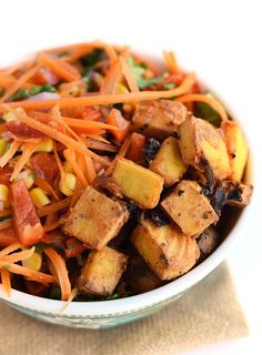 Healthy Carrot Slaw with Baked BBQ Tofu