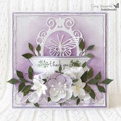Lilac thank you by Olga Vasilyeva - LOVE the watercolor background! Uses Memorybox dies too
