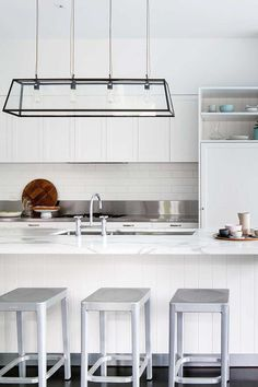 Need inspiration for your contemporary kitchen? From colour to cabinets – here are Home Beautiful's picks for some of the best modern kitchen design ideas. Modern Country Kitchens, White Kitchens, Kitchen Modern, Timber Wall Panels, Timber Dining Table, Hamptons Kitchen, Low Cabinet, Contemporary Kitchen Design, Led
