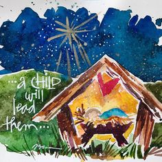 shining night stars, baby manger, my favorite Christmas imagery. Christmas Manger, Christmas Books, Christmas Time, Christmas Crafts, Watercolor Christmas Cards, Watercolor Cards, Watercolour, Nativity Painting, Religious Christmas Cards