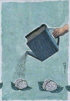 "Leggere fa bene al cervello. (Italian ""Reading is good for the brain. Nuture the brain with good books. Reading benefits the brain. Left brain is smaller then the right."